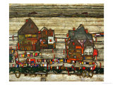 Two Blocks of Houses with Cloth Lines or the Suburbs (II), 1914 Reproduction proc&#233;d&#233; gicl&#233;e par Egon Schiele