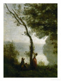 Tree and Woman, Souvenir of Mortefontaine, France Reproduction procédé giclée par Jean-Baptiste-Camille Corot