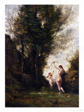 A Nymph Playing with a Cupid, 1857 Giclee Print by Jean-Baptiste-Camille Corot