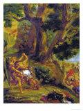 Jacob Fighting the Angel Reproduction procédé giclée par Eugene Delacroix