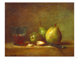 Pears and a Cup of Wine Giclee Print by Jean-Baptiste Simeon Chardin