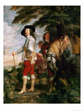 Charles I, King of England During a Hunting Party Giclée-Druck von Sir Anthony Van Dyck