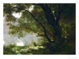 Shepherd, Souvenir of Mortefontaine, France Giclée-Druck von Jean-Baptiste-Camille Corot