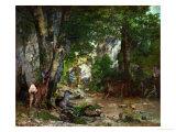 Gustave Courbet - Deer Reserve at Plaisir Fontaine, 1866 Digitálně vytištěná reprodukce