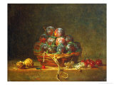 A Basket with Plums, Nuts, Currants and Cherries, Around 1765 Giclee Print by Jean-Baptiste Simeon Chardin