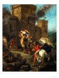 Rebecca Raped by a Knight Templar During the Sack of the Castle Frondeboeuf Giclee Print by Eugene Delacroix