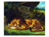 A Lion Devouring a Hare Giclee Print by Eugene Delacroix