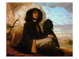Self-Portrait with Black Dog Giclee Print by Gustave Courbet