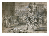 Victorious Horace Entering Rome, 1781, Pen and Black Ink, Gray Wash Giclee Print by Jacques-Louis David
