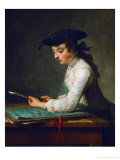 Boy Sharpening a Pencil (Also Called the Young Draftsman), 1737 Giclee Print by Jean-Baptiste Simeon Chardin