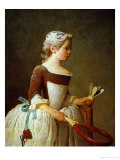 A Girl with Shuttlecock, 1737 Reproduction proc&#233;d&#233; gicl&#233;e par Jean-Baptiste Simeon Chardin