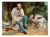 Pierre-Joseph Proudhon and His Children, 1863 Giclee Print by Gustave Courbet