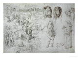 Rape of Europa, Lion's Heads, Archer, Sage, Skull, Drawing Giclee Print by Albrecht Dürer