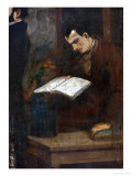 The Poet Charles Baudelaire Reading Giclee Print by Gustave Courbet