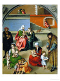 The Holy Kinship (With Self-Portrait of Cranach, Standing with Red Cap) Giclee Print by Lucas Cranach the Elder