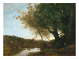 Passing the Ford in the Evening, 1868 Reproduction procédé giclée par Jean-Baptiste-Camille Corot