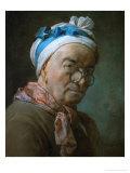 Self-Portrait with Pince-Nez, 1771 Giclée-tryk af Jean-Baptiste Simeon Chardin