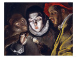 Fabula, Around 1600, a Boy Lights a Candle, as a Monkey and a Bearded Figure Watch Giclee Print by  El Greco