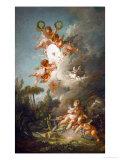 The Target of Love, 1758 Giclée-tryk af Francois Boucher