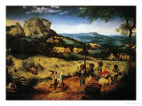 Hay Making, the Hay Harvest from the Series of Six Paintings The Seasons Lmina gicle por Pieter Bruegel the Elder