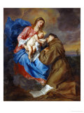 Virgin and Child with Saint Anthony of Padua, 1630-1632 Reproduction proc&#233;d&#233; gicl&#233;e par Sir Anthony Van Dyck