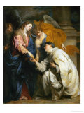 Mystic Engagement of the Beatified Hermann Joseph with the Virgin Mary, 1630 Reproduction proc&#233;d&#233; gicl&#233;e par Sir Anthony Van Dyck