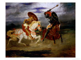 A Fight Between Knights Giclee Print by Eugene Delacroix