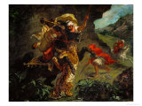 The Tiger Hunt Giclee Print by Eugene Delacroix