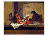 Musical Instruments and a Parrot Giclee Print by Jean-Baptiste Simeon Chardin
