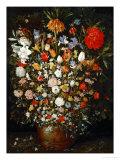 Big Flower Bouquet in a Wooden Vessel Giclee-trykk av Jan Brueghel the Elder