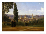Florence, Seen from the Boboli-Gardens Giclée-tryk af Jean-Baptiste-Camille Corot