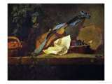 Muscial Instruments and a Basket with Fruit Giclee Print by Jean-Baptiste Simeon Chardin