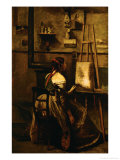 Corot's Studio, Young Woman Before an Easel Giclee Print by Jean-Baptiste-Camille Corot