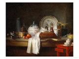 The Sideboard: Desert with Pie, Fruit and an Giclee Print by Jean-Baptiste Simeon Chardin