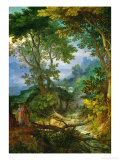 Mountain Landscape with the Temptation of Christ, 1605-1610 Giclee Print by Jan Brueghel the Elder