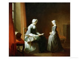 A Decent Education Reproduction procédé giclée par Jean-Baptiste Simeon Chardin