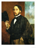 Self-Portrait: Degas Lifting His Hat Giclee Print by Edgar Degas