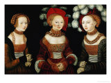 The Princesses Sibylla, Emilia, and Sidonia of Saxony, 1535 Reproduction proc&#233;d&#233; gicl&#233;e par Lucas Cranach the Elder