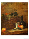 Fruit Basket with Grapes, a Silver Goblet and a Bottle, Peaches, Plums, and a Pear Giclee Print by Jean-Baptiste Simeon Chardin