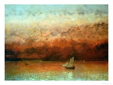 Lake Geneva at Sunset Giclee Print by Gustave Courbet