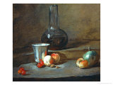 A Half-Full Decanter, a Silver Goblet, Five Cherries, an Apricot and a Green Apple Giclee Print by Jean-Baptiste Simeon Chardin