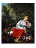 The Dreaming Shepherdess Giclee Print by Francois Boucher
