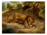 Lion and Cayman, 1855 Giclee Print by Eugene Delacroix