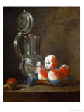 Pewter Pot with Plate of Peaches, Prunes and Nut, Around 1728 Giclee Print by Jean-Baptiste Simeon Chardin
