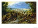 Bandits Attacking a Convoy of Horse Drawn Carts Giclee Print by Jan Brueghel the Elder