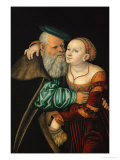 The Odd Couple, 1531, Tempera on Red Beech Giclee Print by Lucas Cranach the Elder