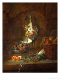 Dead Partridge Hung by One Leg, Bowl with Prunes, and a Basket with Pears, Around 1728 Giclee Print by Jean-Baptiste Simeon Chardin