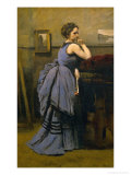 Lady in Blue, 1874 Giclee Print by Jean-Baptiste-Camille Corot