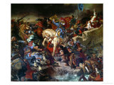 The Battle of Taillebourg Between Louis IX Giclee Print by Eugene Delacroix