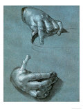 Hands, Two Studies, Chalk Drawing on Blue Paper Reproduction procédé giclée par Albrecht Dürer